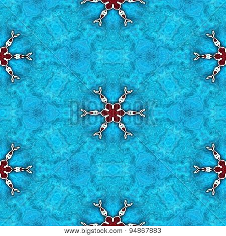 Abstract Seamless Frozen Blue Texture Or Background With Red Snowflakes For Winter Or Christmas Desi
