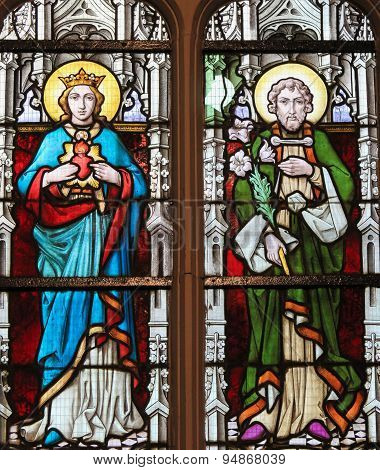 Stained Glass - Mother Mary And Saint Joseph