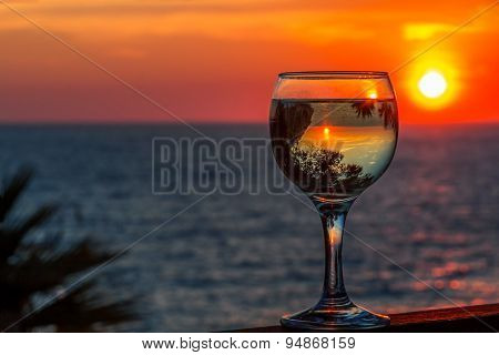 White Wine On The Sunset Sea Background
