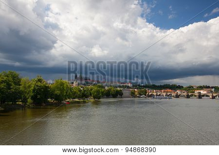 View On The Prague Gothic Castle And Old Town Before Heavy Storm