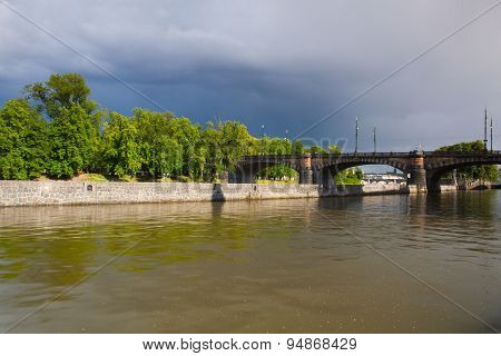 Before Heavy Storm - View On Strelecky Island In Prague