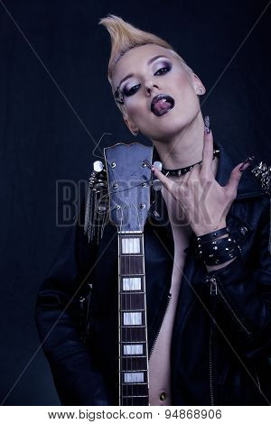 Fashion Rocker Style Model Girl Portrait. Hairstyle.Punk Woman Makeup, Hairdo and black Nails. Smoky