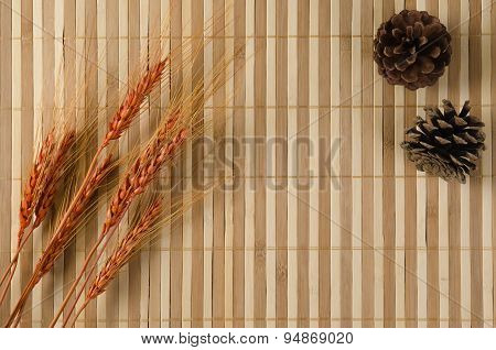 Bamboo Brown Straw With Cones And Barley Rice Grains