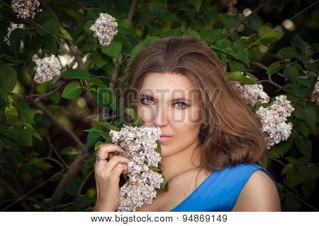 The Beautiful Girl In The Wood With A Lilac