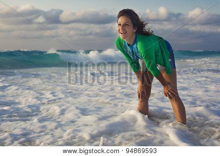 Portrait of a cute girl in denim shorts