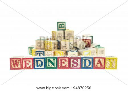 Wednesday Written In Colorful Alphabet Blocks Isolated On White