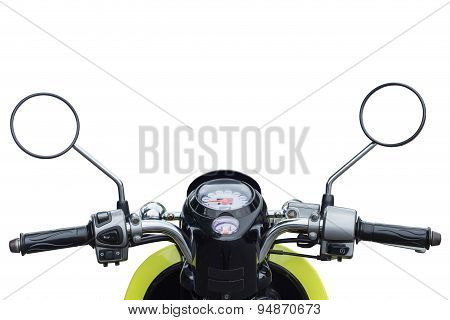 Front Part Of Modern Motorcycle View From Rider