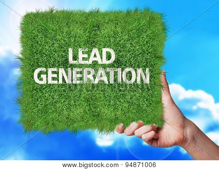 Banner Of Grass With Text Lead Generation.