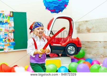 Cute Kid, Boy Dressed Like Pirate On Playground