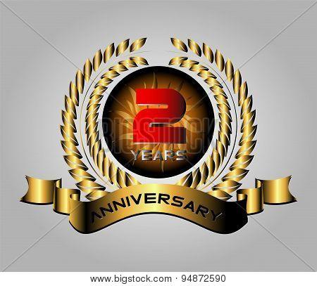 Celebrating 2 Years Anniversary - Golden Laurel Wreath Vector