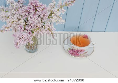 Bunch Of Lilac And Teacup