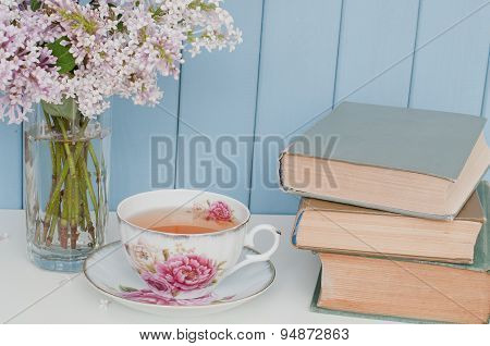 Bunch Of Lilac, Books And Teacup