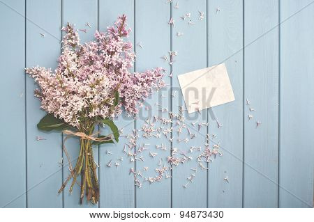 Summer Bouquet Of Gentle Blooming Lilac With Card