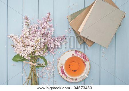 Tea. Books And Flowers