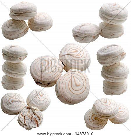 Marshmallows Isolated On White.