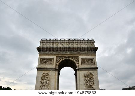 Arc De Triomphe With Moody Sky