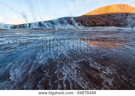 Valley Geysers At El Tatio At Sunrise, Atacama