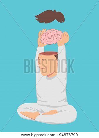 Peaceful Man Take Off His Brain