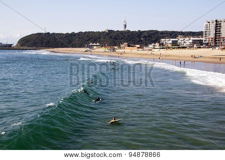 People And Surfers On Vetch's Beach In Durban