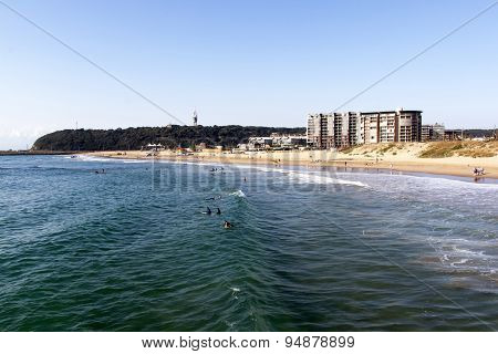 Many People And Surfers On Vetch's Beach In Durban