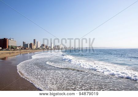 People On Addington Beach Against Durban City Skyline