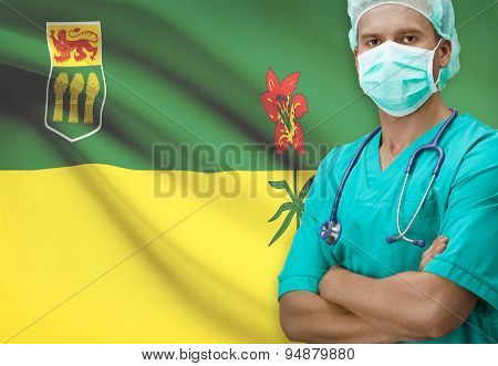 Surgeon With Canadian Province Flag On Background Series - Saskatchewan