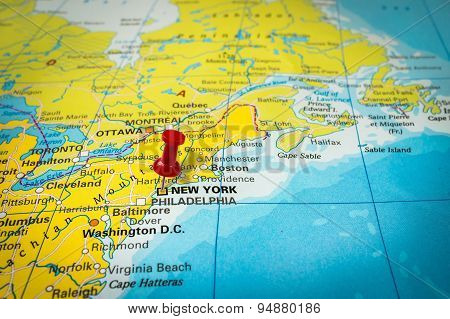 Red Thumbtack In A Map, Pushpin Pointing At New York