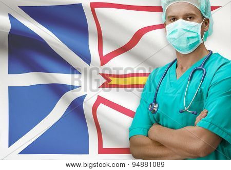 Surgeon With Canadian Province Flag On Background Series - Newfoundland And Labrador