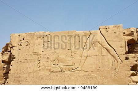 Damaged Wall Of Karnak Temple, Egypt, Luxor
