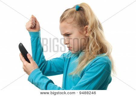 Young Girl On The Phone Is Angry