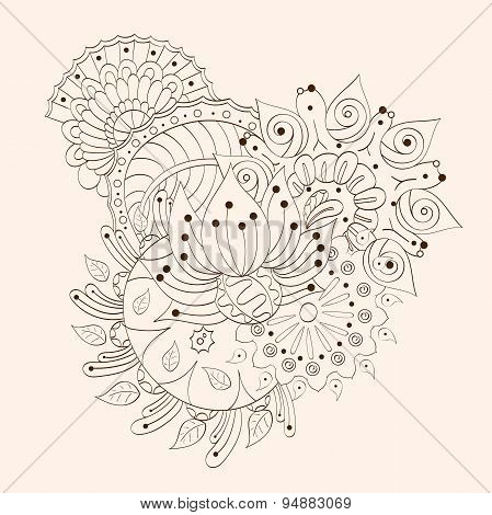 Mehendi tracery isolated hindi handmade drawing