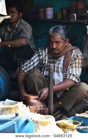 Jodhpur, India - January 1, 2015: Unidentified Indian Man In The Market In Jodhpur