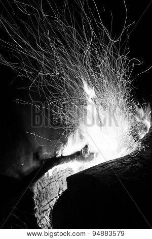 Log Campfire Burning At Night