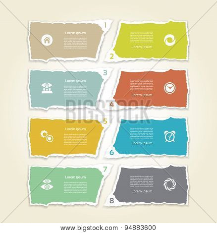Modern torn paper for infographics. Vector infographics background