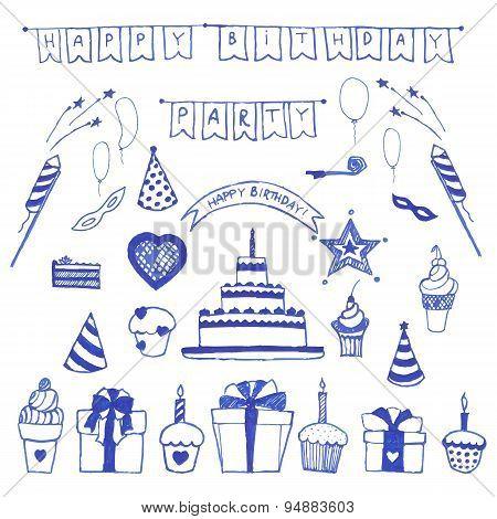 Happy birthday doodle. Flat style vector illustration.