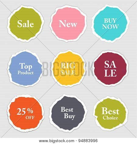 Torn paper round sticker label banner set. Vector illustration. eps 10