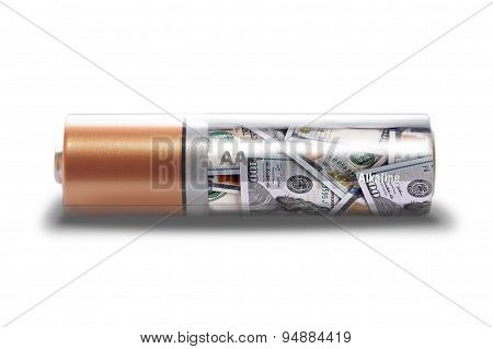 Battery Charged With Dollars Isolated On White Background