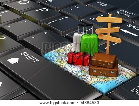 Travel The World, Suitcases On The Map, Keyboard