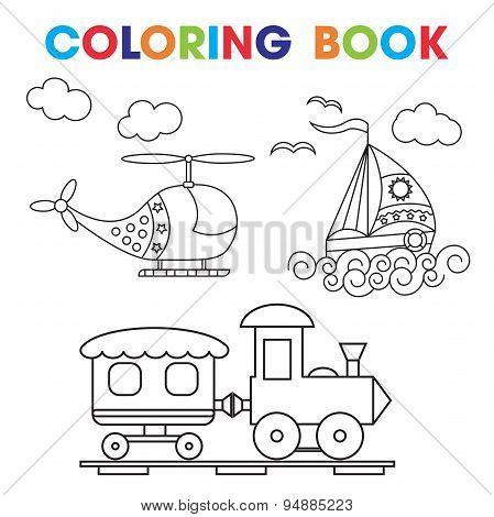 Coloring Book or Page Cartoon Vector Illustration Set of Black and White Transport for Children.