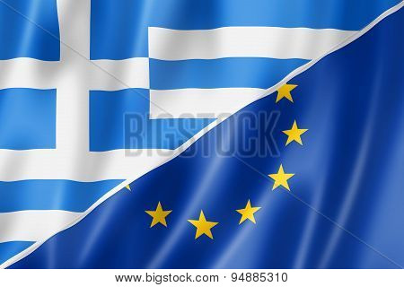 Greece And Europe Flag