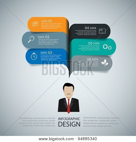 Modern Infographic Business Speech Template Style. Vector Illustration.