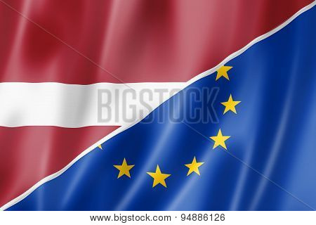 Latvia And Europe Flag