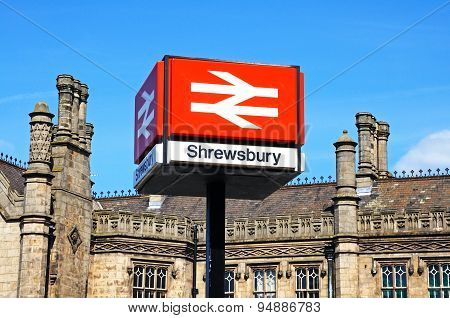 Shrewsbury railway station sign.