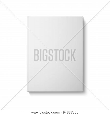 Realistic front blank hardcover book. Isolated on white background. Vector