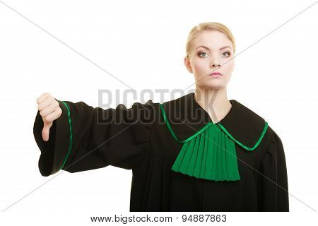 Woman Lawyer Thumb Down Hand Sign