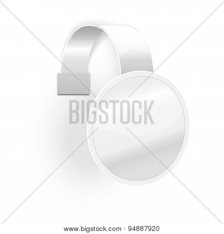 Blank plastic wobbler isolated on white background with place for your design and branding. Vector