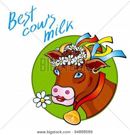 Funny Cow With Milk. Flowers  Vector Illustration art