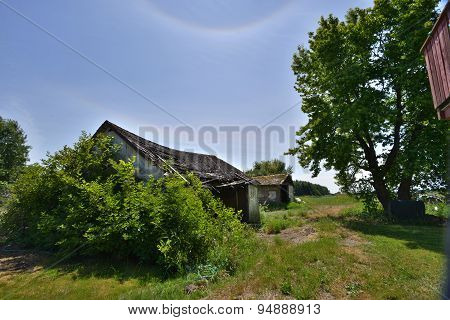 Abandoned Garage With Warped Roof