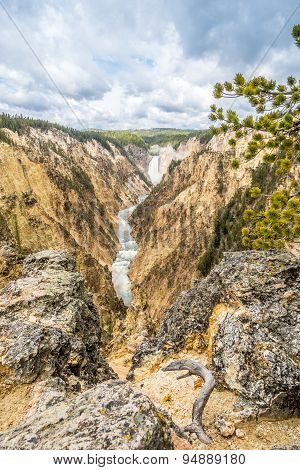 Yellowstone Falls In National Park