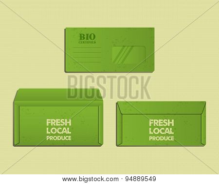 Brand identity template. Envelope. Front, back sides and open. With organic, farm fresh, eco keyword